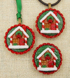 Glass Christmas Gingerbread House Tea Cookie Mini Ornament or Pendant