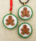 Glass Christmas Gingerbread Man Tea Cookie Mini Ornament or Pendant