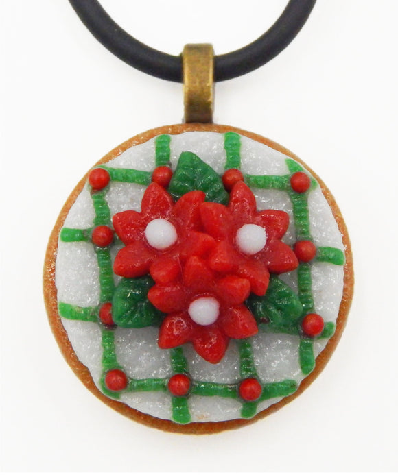 Glass Christmas Nosegay Tea Cookie Mini Ornament or Pendant