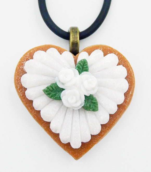 Glass Heart-Shaped White Rose Cookie Mini Ornament or Pendant