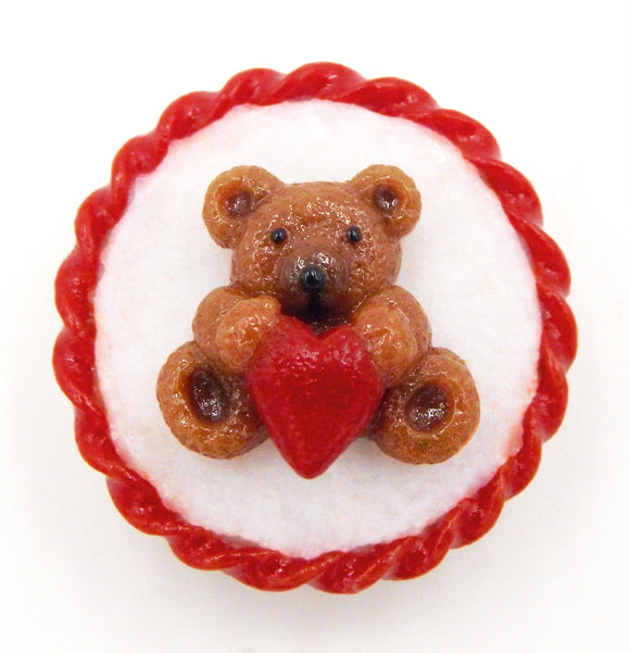 Glass Teddy Bear with Heart Cookie Mini Ornament or Pendant