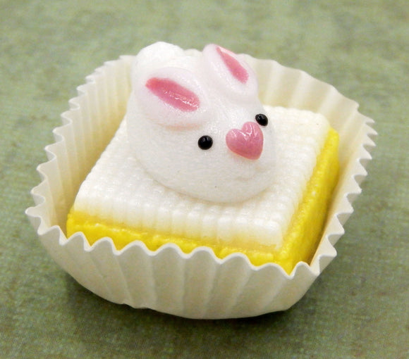 White Bunny Rabbit on Lemon Petit Four
