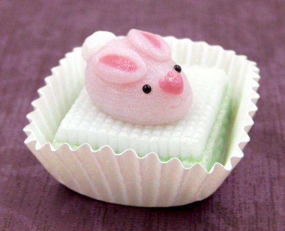 Pink Bunny Rabbit on Mint Petit Four