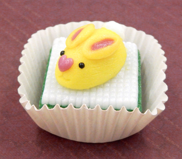 Lemon Yellow Bunny Rabbit on Deep Green Petit Four