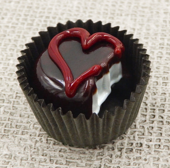 Bitten Chocolate with Dark Cherry Red Heart