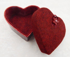 Empty Deep Red Heart Box for 3 Art Glass Chocolates