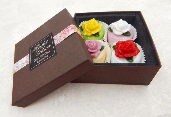 Box of 4 Glass Chocolate Roses