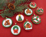 Glass Christmas Holly Tea Cookie Mini Ornament or Pendant