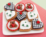 Glass Black & White Checkerboard with Rose Heart Cookie Mini Ornament or Pendant