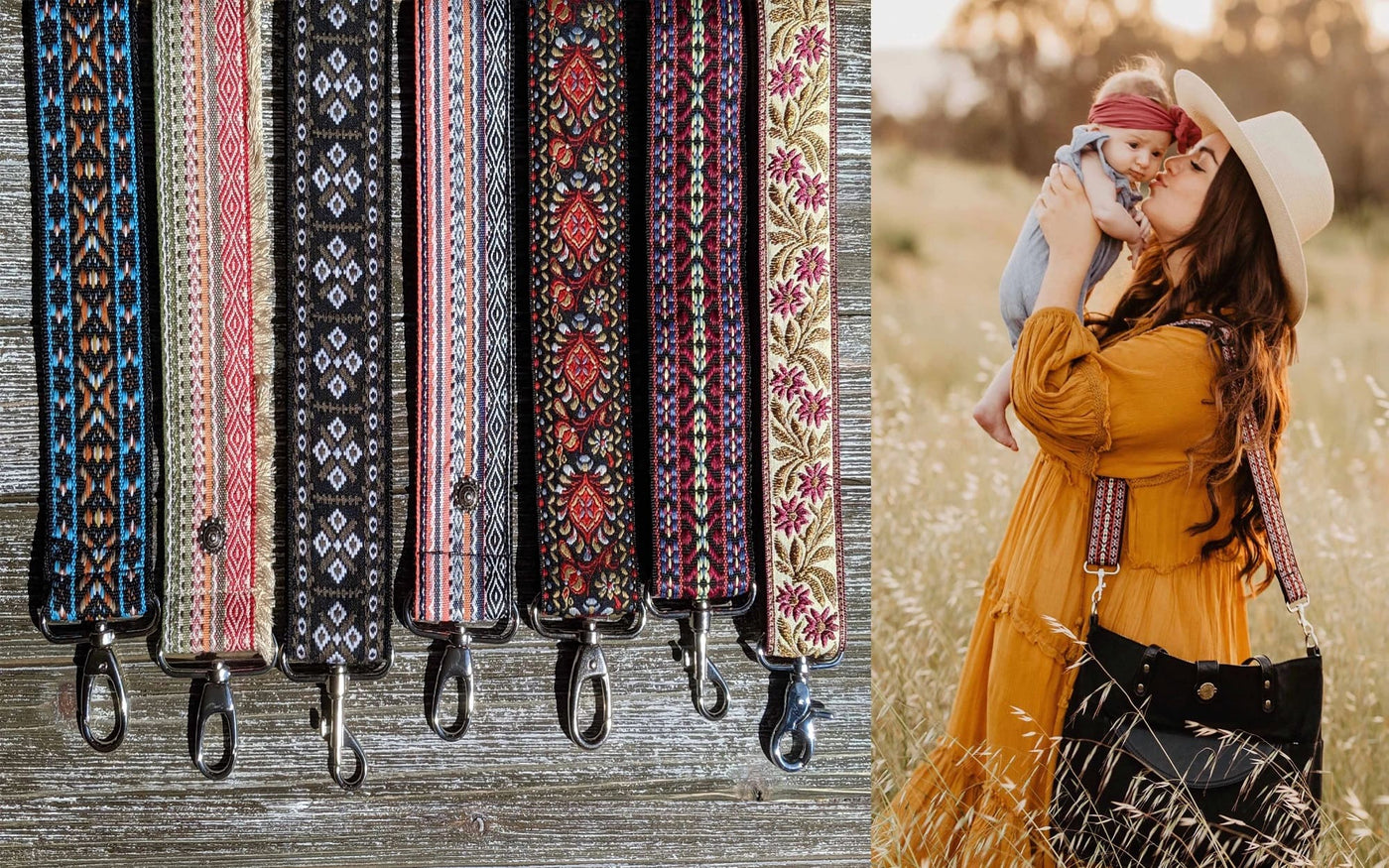 Split image showing assortment of six Boho style, woven bag straps plus image of mom holding her baby while wearing black Carry All Tote Trio with black, blue and orange patterned strap.