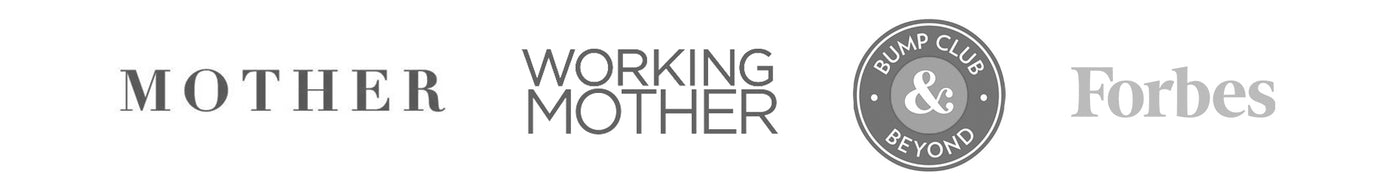"A line of 4 media logos including ""Mother,"" ""Working Mother,"" ""Bump Club & Beyond"" and ""Forbes""."