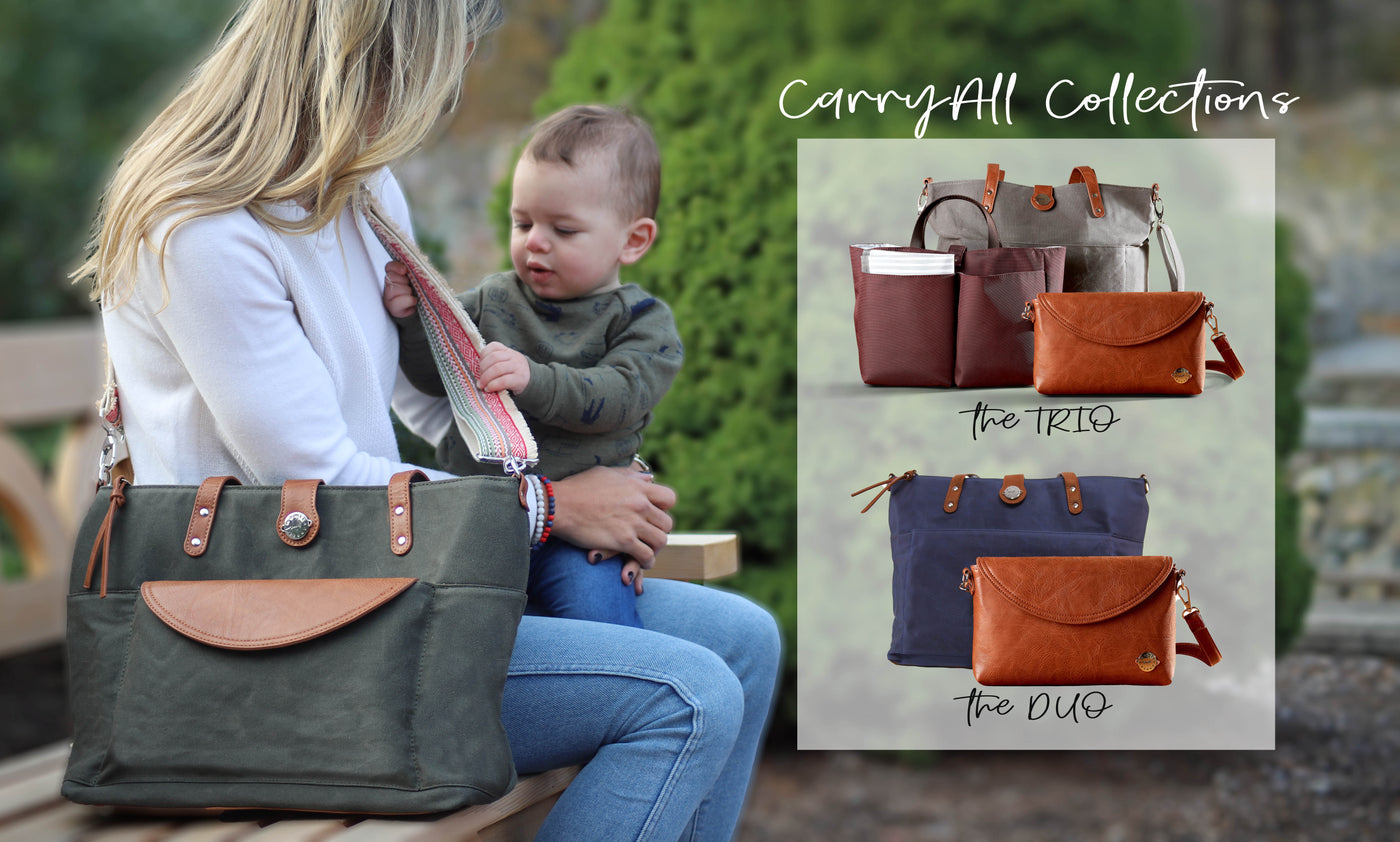 Mom sitting on bench with baby wearing a Forest Green waxed canvas tote with Boho strap, plus inset images of a grey CarryAll Tote Trio set and navy CarryAll Tote Duo set.