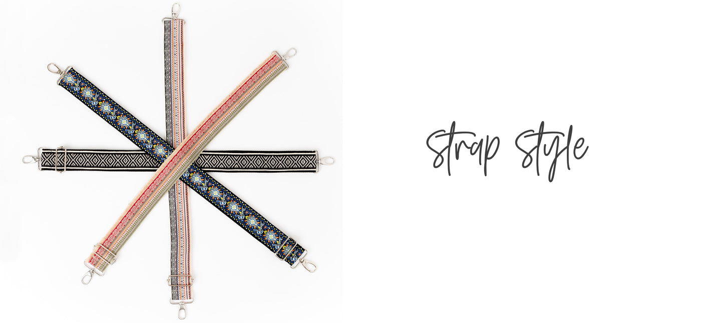 "Image of 4 brightly colored boho style bag straps in different woven patterns, laid out to form an asterisk shape on a white background with a copy overlay ""Strap Style."""