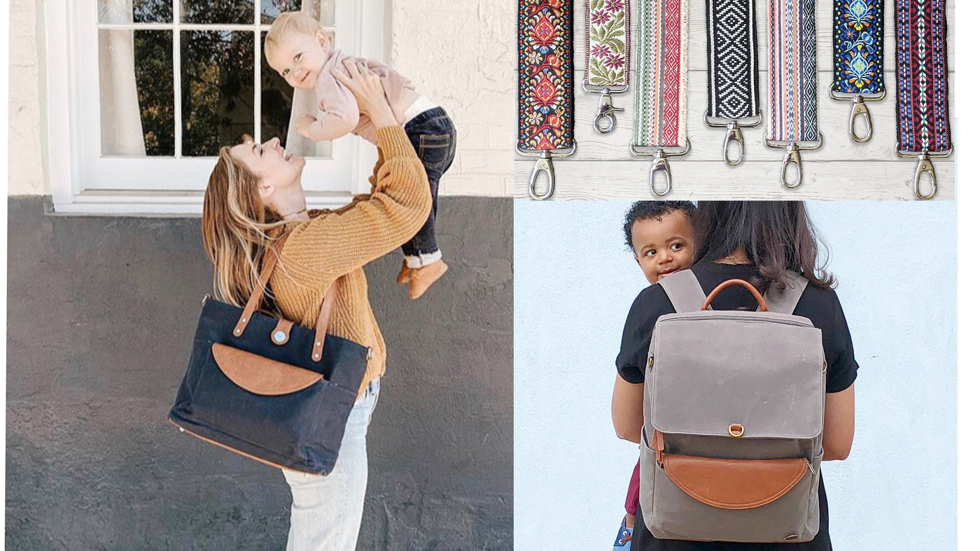 A photo collage featuring a close-up of 6 patterned boho style bag straps, an image of a mom with a black and brown carryall tote diaper bag on her shoulder holding a baby and a photo of a mom wearing a grey and brown backpack holding her toddler son.