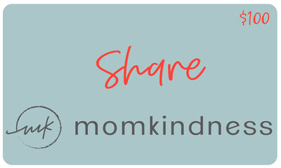 A classic style, physical gift card with a value of $100, redeemable at www.momkindness.com.