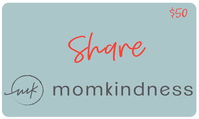 A classic style, physical gift card with a value of $50, redeemable at www.momkindness.com.