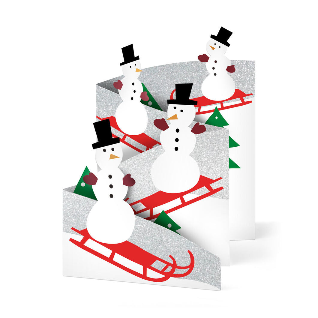 MoMA Holiday Cards Sledding Snowman Set of 8