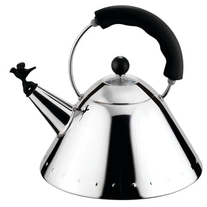 Kettle in 18/10 stainless steel mirror polished with Black handle and small Red bird-shaped whistle in PA. Magnetic steel heat-diffusing bottom. Design: Michael Graves 1985 for Alessi, Italy.