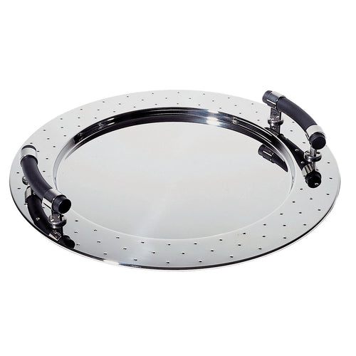 Round polished steel serving tray with black handles. Designed by Michael Graves for Alessi.