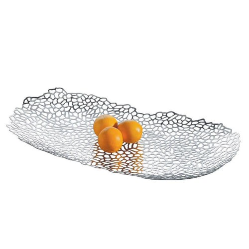 "An elegant polished stainless steel centerpiece designed to look like fabric lace. 24"" long."