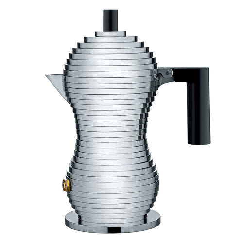 Aluminium casted stovetop espresso coffee maker designed to enhance organoleptic properties of coffee.