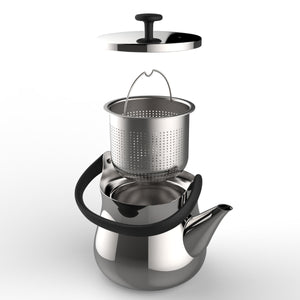 Stainless steel tea kettle and teapot with a 900ml capacity designed by Naoto Fukasawa for Alessi.