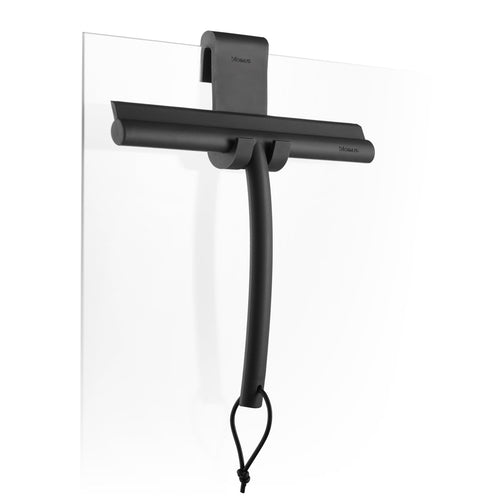 Blomus matte black shower squeegee with hanger, made of silicone