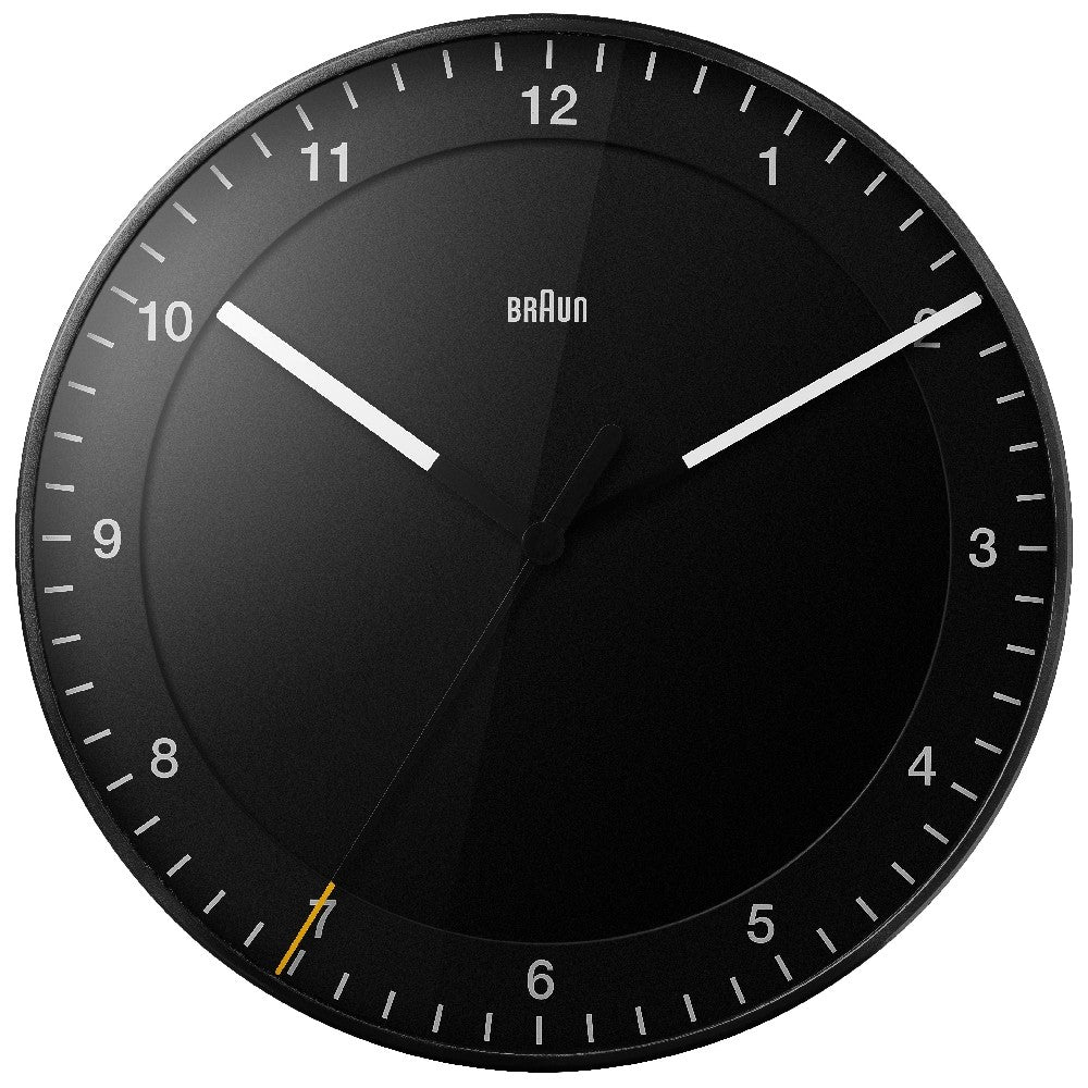 "A classically designed 12"" round black wall clock."