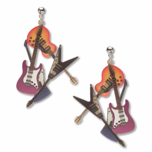 Art and Architectural Earrings Electric Guitars