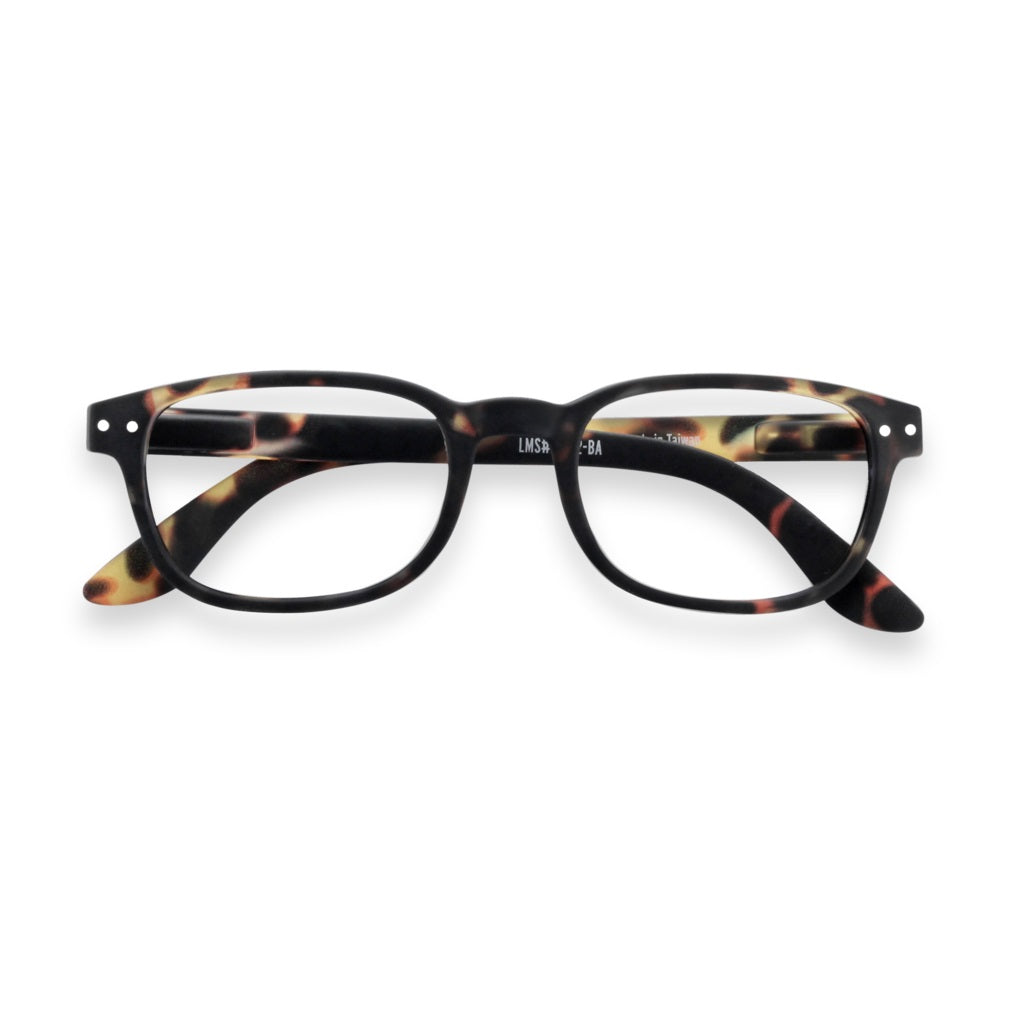 Tortoise reading glasses for presbyopia. Stylish, bold, rectangular shape. Unisex, universal model.