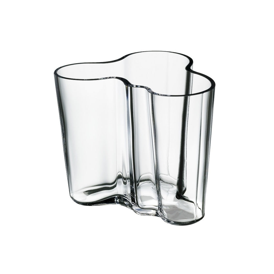 95mm Vase in clear mouth blown glass designed by Alvar Aalto.