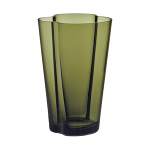 220mm hand blown glass vase in moss green color.