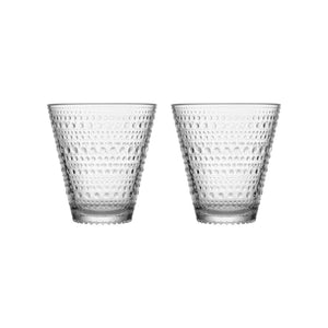 Set of clear 30cl glasses with dew drop inspired design.