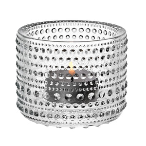 Iittala Kastehelmi tealight candle holder in clear, made of glass, approx 2.5""