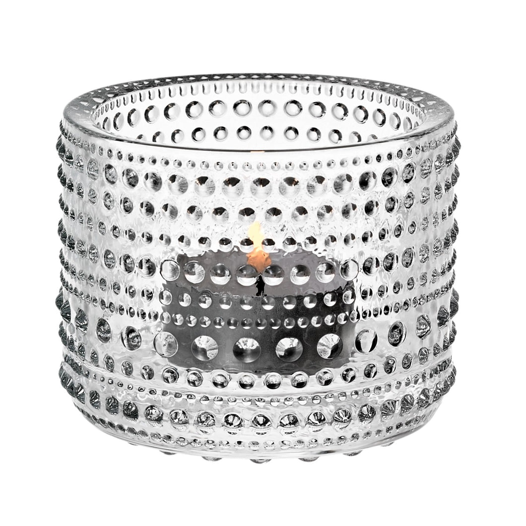 Iittala Kastehelmi tealight candle holder in clear, made of glass, approx 2.5