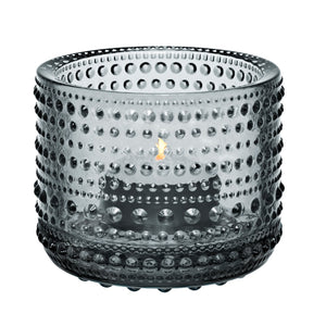 Iittala Kastehelmi tealight candle holder in grey, made of glass, approx 2.5""