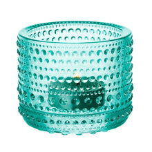 Iittala Kastehelmi tealight candle holder in water green, made of glass, approx 2.5""