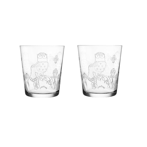 Iittala Taika etched tumblers, set of 2, 13oz each