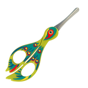 Green scissors designed and painted to look like a bird with rounded end to prevent accidents.