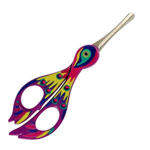 Purple scissors designed and painted to look like a bird with rounded end to prevent accidents.
