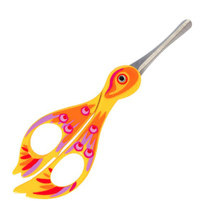 Yellow scissors designed and painted to look like a bird with rounded end to prevent accidents.