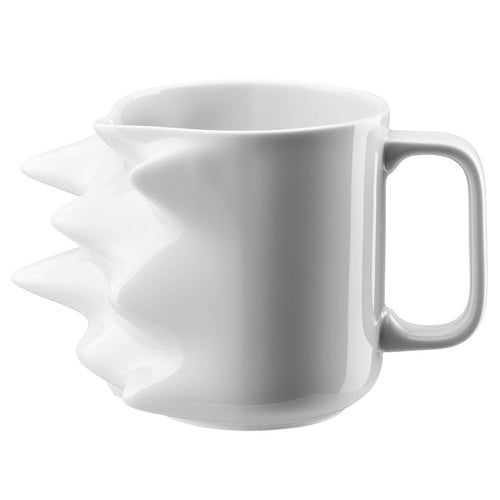 Large white porcelain mug shaped in a way to express metaphorical time lapse movement.