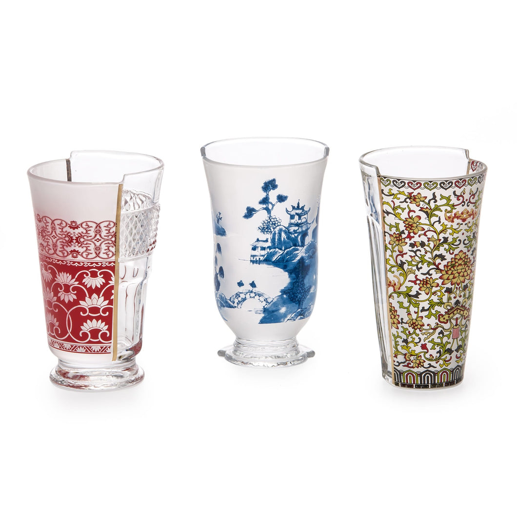 Seletti set of 3 hybrid cocktail glasses in Clarice design