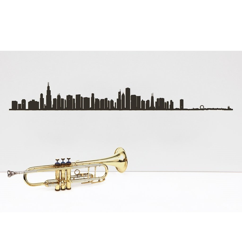 "19.5"" long steel sheet designed to show off the city skyline in Chicago. Finished in black. The silhouette is meant to be mounted on the wall."