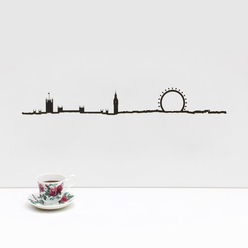 "19.5"" long steel sheet designed to show off the city skyline in London. Finished in black. The silhouette is meant to be mounted on the wall."