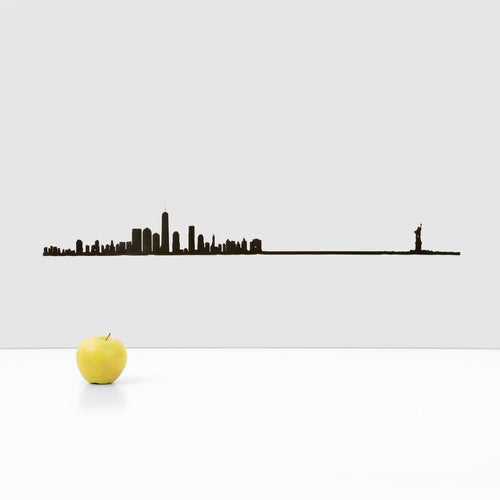 "19.5"" long steel sheet designed to show off the city skyline in NYC. Finished in black. The silhouette is meant to be mounted on the wall."