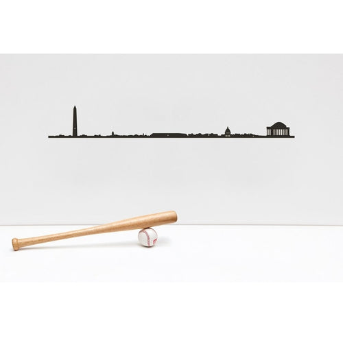 "19.5"" long steel sheet designed to show off the city skyline in Washington. Finished in black. The silhouette is meant to be mounted on the wall."