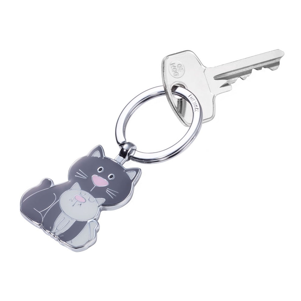 Troika keyring with a charm of a cat and kitten together.