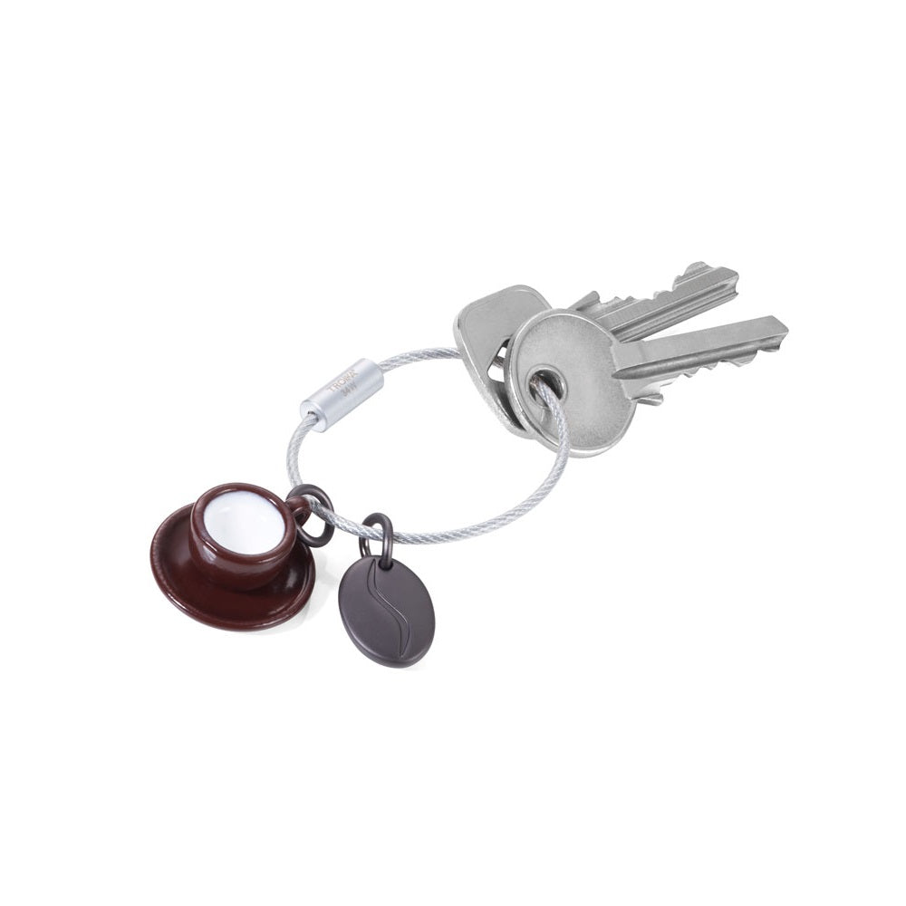 Troika keyring with coffee cup and java bean symbol charms.