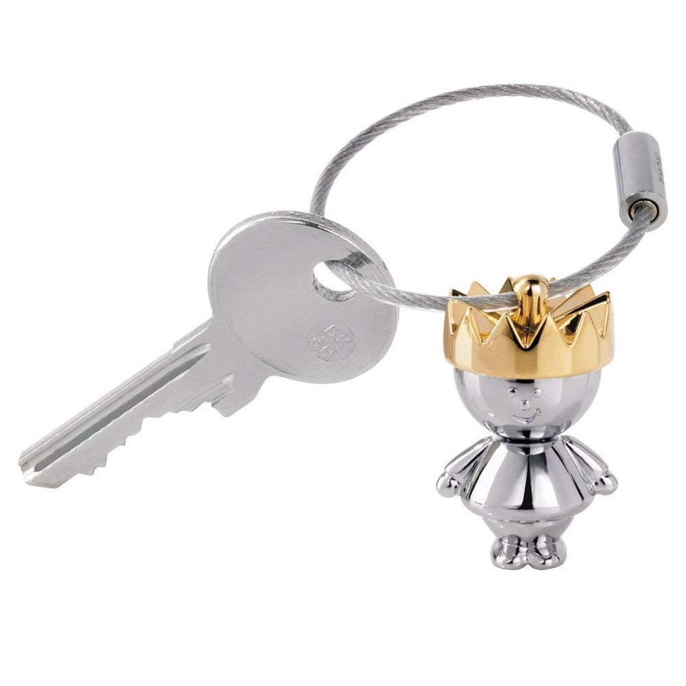 Troika keyring with chrome king and golden crown charm.